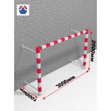 Ворота пристенные гандбол - минифутбол 3х2х1 стальной профиль квадратный 80х80мм