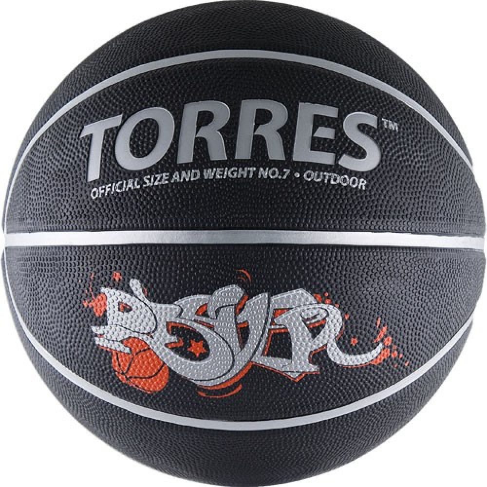 "Мяч баск. ""TORRES Prayer"" арт.B00057, р.7, резина, нейлон.корд, бут. кам., черно-серебр-крас"
