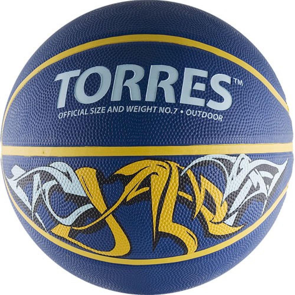 """Мяч баск. """"TORRES Jam"""" арт.B00047, р.7, резина, нейлон. корд, бут. кам., син-желт-голубой"""