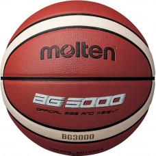 "Мяч баск. ""MOLTEN B5G3000"" р.5, 12 панелей, синт.кожа (ПВХ), бут.кам, нейл.корд, кор-беж-чер"