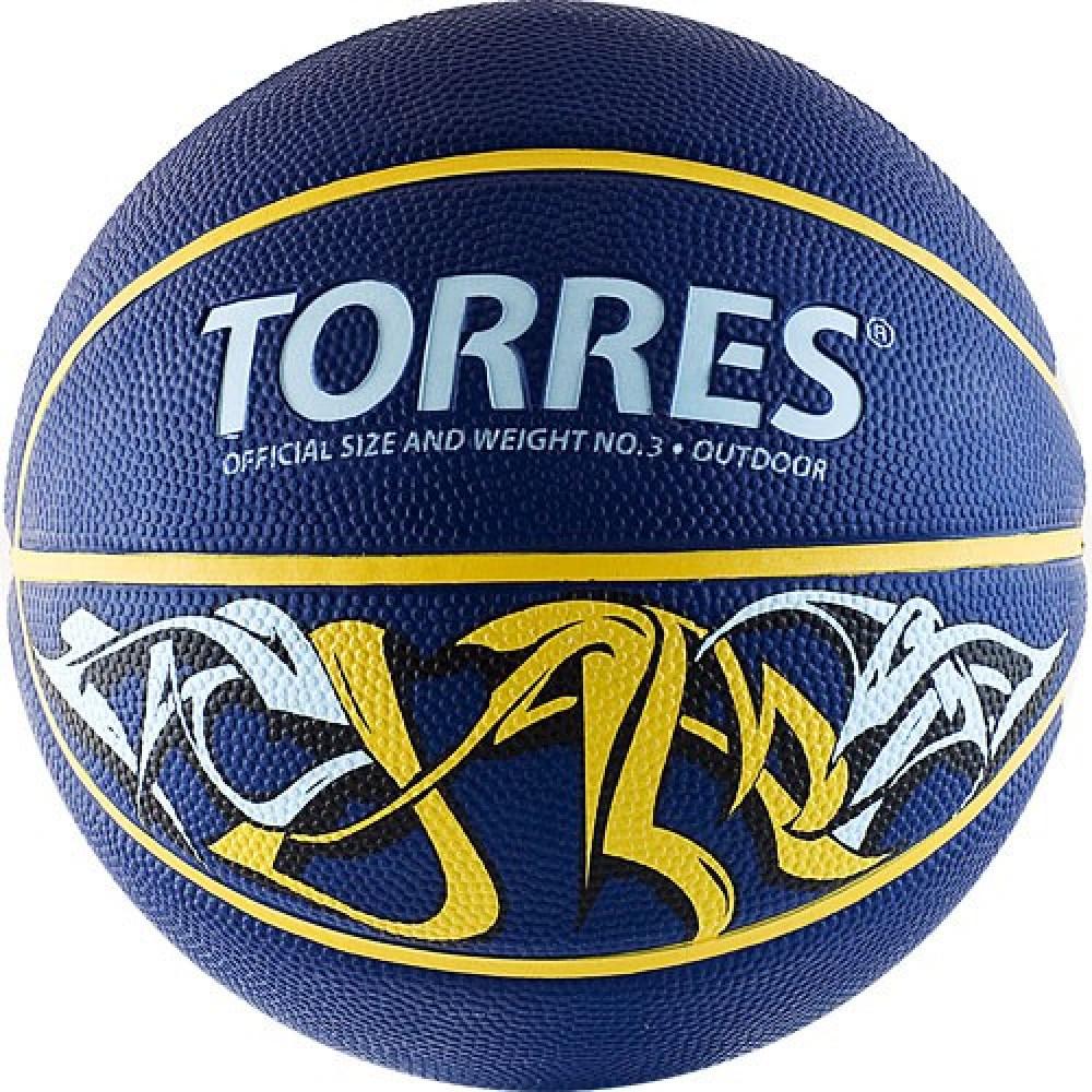 """Мяч баск. """"TORRES Jam"""" арт.B00043, р.3, резина, нейлон. корд, бут. кам., син-желт-голубой"""