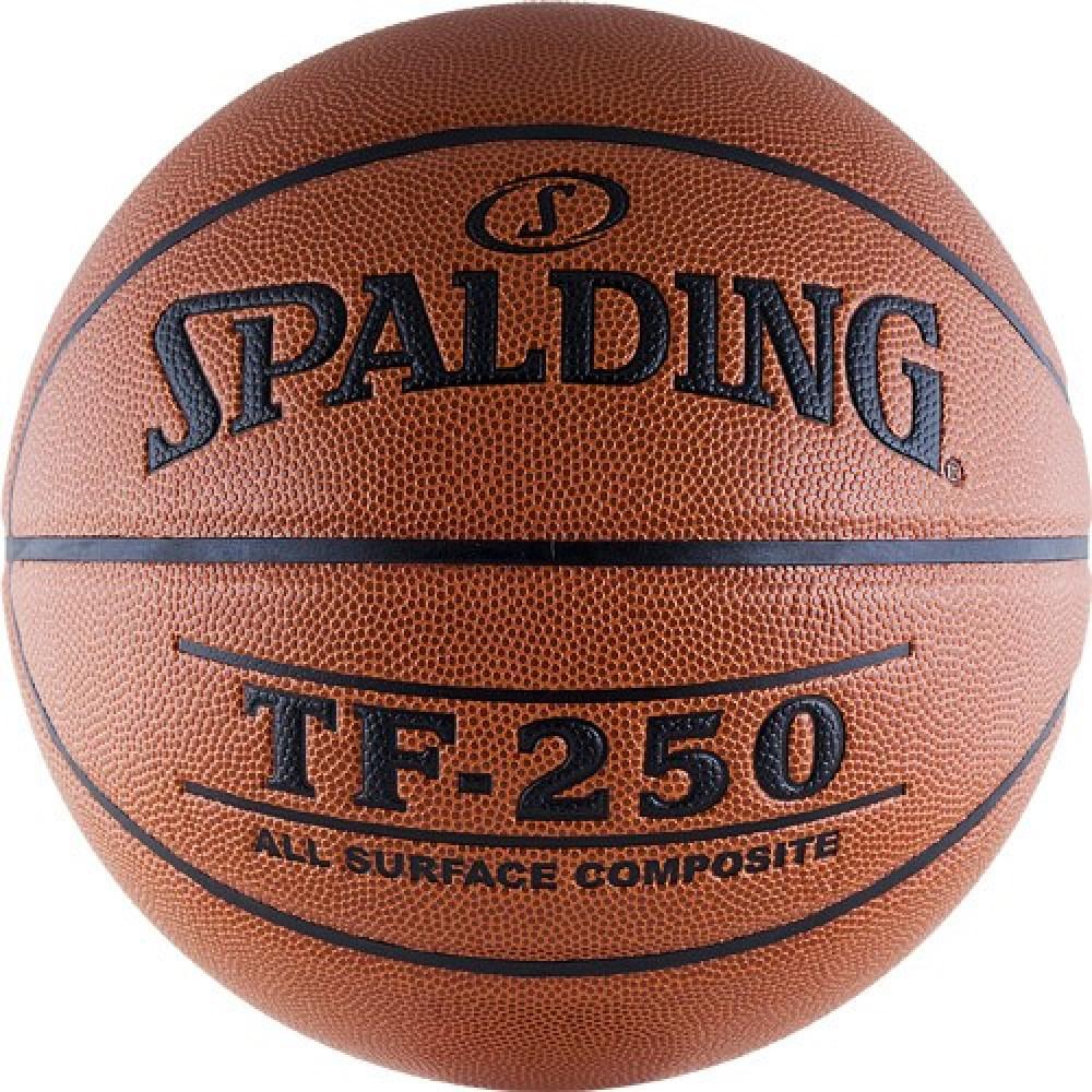 """Мяч баск. """"SPALDING TF-250 All Surface"""" р.7, арт.74-531z, полиуретан-композит, коричн-черн."""