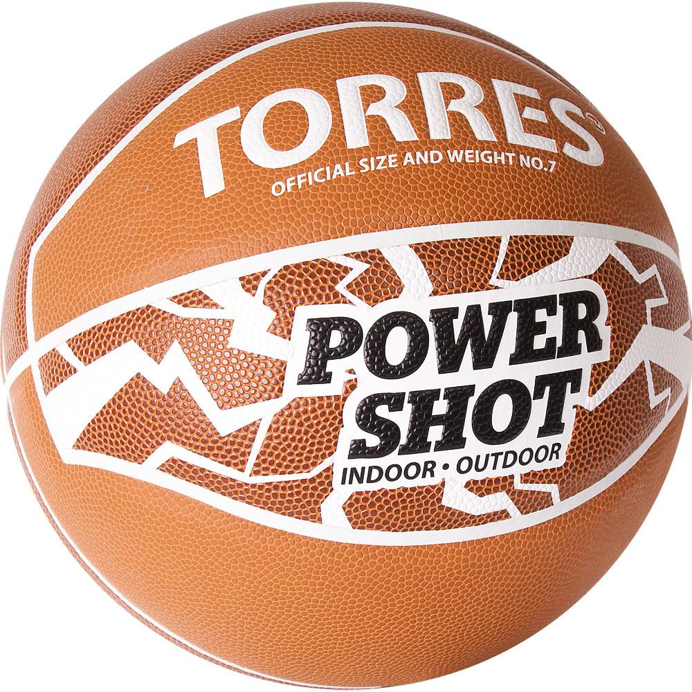 "Мяч баск. ""TORRES Power Shot"" арт.B32087, р.7, 8 пан., ПУ, нейлон.корд,бут.кам, оранжево-белый"