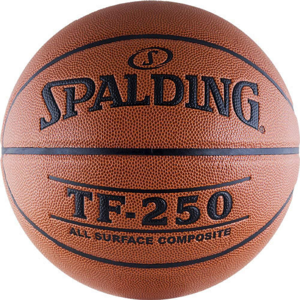 """Мяч баск. """"SPALDING TF-250 All Surface"""" р.6, арт.74-532z, полиуретан-композит, коричн-черн."""