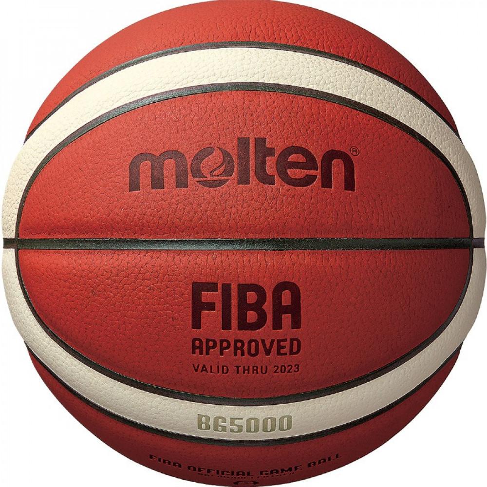 "Мяч баск. ""MOLTEN B7G5000"" р.7, FIBA Appr,12 панелей, нат.кожа, бутил. камера, кор-беж-чер"
