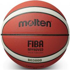 "Мяч баск. ""MOLTEN B6G3800"" р.6, FIBA Appr, синт.комп.кожа (ПУ),12 пан,бут.кам,нейл.корд,кор-беж-чер"