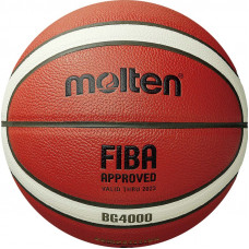"Мяч баск. ""MOLTEN B5G4000"" р.5, FIBA Appr, 12 пан, композит.кожа (ПУ),бут.кам,нейл.корд,кор-беж-чер"