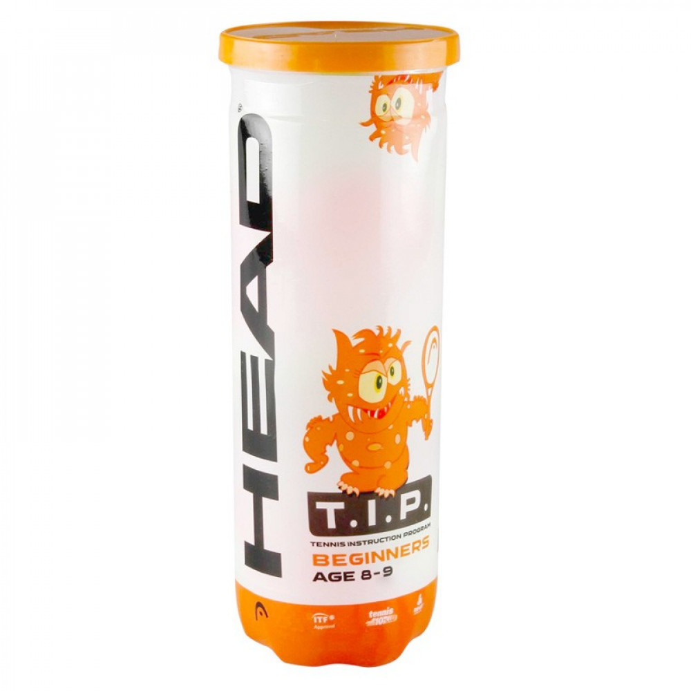 Мяч теннисный HEAD T.I.P Orange, арт.578123,уп.3 шт, фетр,нат.резина,желто-оранжевый