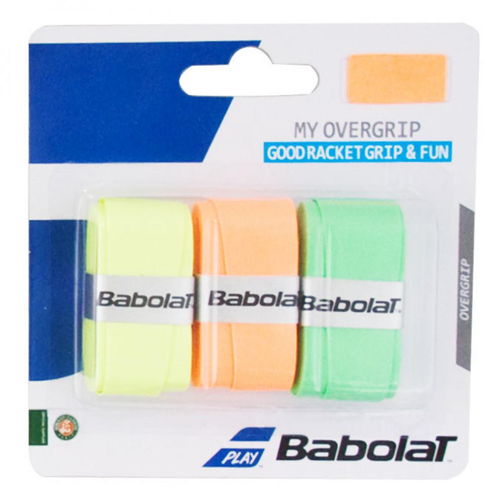 Овергрип BABOLAT MY GRIP, арт.653045-215, упак. по 3 шт, 0.6 мм, 120см, оранжево-зелено-желтый