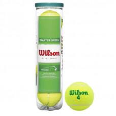 Мяч теннисный WILSON Starter Green Play, арт.WRT137400, одобр.ITF, фетр, нат.рез, уп.4шт,желто-зелен