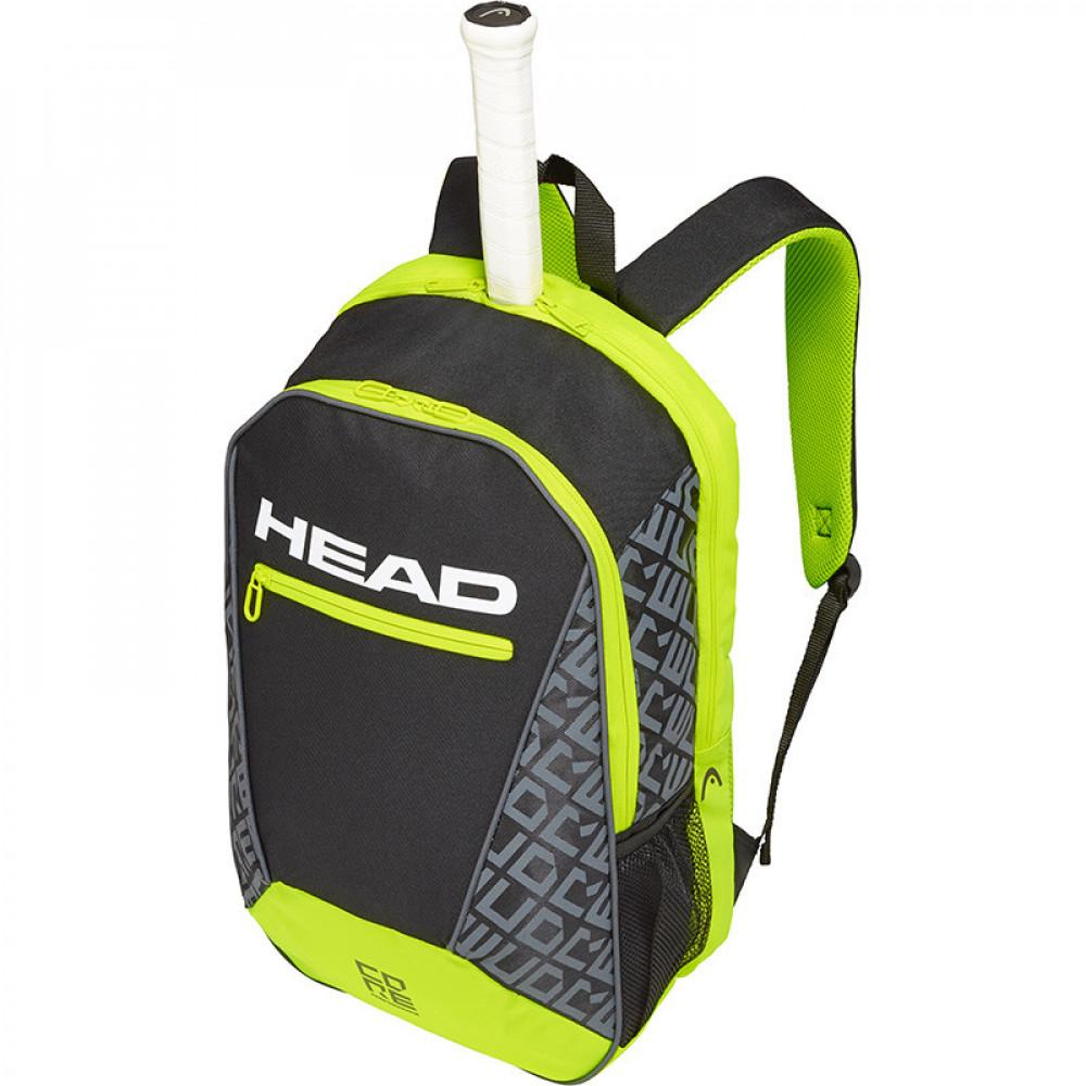 """Рюкзак спорт. """"HEAD CORE Backpack"""" арт.283539(BKNY), с карманом под 1 тен.ракетку, черно-яркозеленый"""