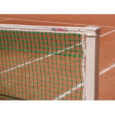 """Сетка теннисн. """"KV.REZAC"""" проф., арт.21005215, ЗЕЛ, нить 3мм ПП, двойн.сет.сверх,, стал. трос в ПВХ"""