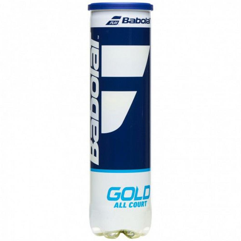 Мяч теннисный BABOLAT Gold All Court X4, арт.502085, уп.4шт, одобр.ITF, сукно, нат.резина, желт