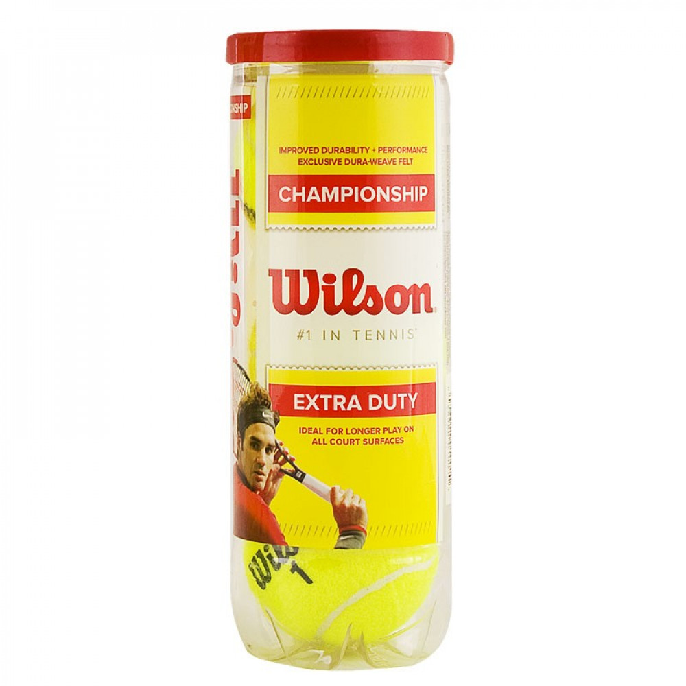 Мяч теннисный WILSON Championship, арт. WRT100101, одобр.ITF и USTA,фетр,нат.резина, уп.3 шт, желтый
