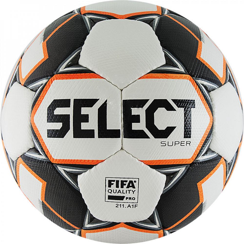 "Мяч футб. ""SELECT Super"" арт.812117-009, р.5, FIFA PRO, ПУ микрофибра, руч.сш., бел-чер-сер-оранж"