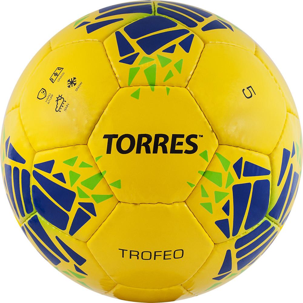 """Мяч футбольный """"TORRES Trofeo"""" арт.F32035, р.5, 32 панели. PU, руч. сшивка, жёлтый"""