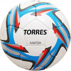 "Мяч футб. ""TORRES Match"",арт.F31824,р.4, 32 пан. PU, 4 под. слоя, ручная сшивка, бело-серебр-голубой"
