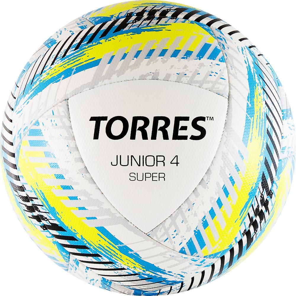 """СЦ*Мяч футб. """"TORRES Junior-4 Super""""арт.F319204, р.4, вес 290-320 г, ПУ, 2 сл, 16п, гиб.сш, бел"""
