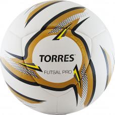"""Мяч футзал. """"TORRES Futsal Pro"""", арт.F31924, р.4, 10 пан. PU, 4 подкл. сл, гибрид. сш. бело-зол-чер"""