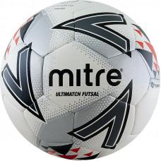 "Мяч футзал. ""MITRE Futsal Ultimatch"" арт.A0027WG7, р.4, ПУ, 30пан, IMS, гибридн.сш, бел-серо-крас"