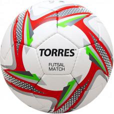 """Мяч футзал. """"TORRES Futsal Match"""" арт.F31864, р.4, 32 панели. PU, 4 подкл. слоя, бело-серебр-крас."""
