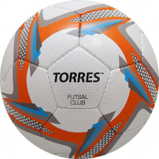 "Мяч футзал. ""TORRES Futsal Club"" арт.F31884, р.4, 32 п.. PU, 4 подкл.сл, руч.сш,бел-оранж-сер"