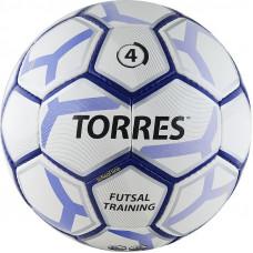 """Мяч футзал. """"TORRES Futsal Training"""" арт.F30644, р.4, 32 панели. PU, 4 подкл. слоя, бело-фиолет-черн"""