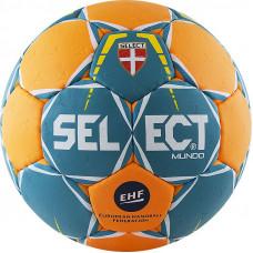 "Мяч ганд. ""SELECT Mundo"" арт. 846211-446, Mini (р.0), EHF Appr.,мат.ПУ,руч.сш, зелено-оранж"