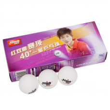 Мяч для наст. тенниса DHS 1* (DUAL), арт.CD40C, диам.40+, пластик, CTTA Appr., упак.10 шт, белый