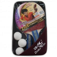 Набор для н/т DOUBLE FISH, арт.236A, 2 ракетки и 3 мяча, наклад. 1,8 мм, конич. ручка