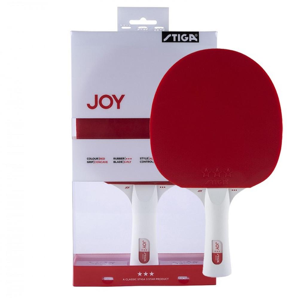 Ракетка для н/т Stiga JOY***, арт.189801, для тренир., накладка 1,9 мм,ITTF, кон. ручка, красная