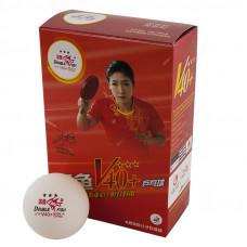Мяч для наст. тенниса Double Fish 3***, World Cup диам. V40+мм, ITTF Appr,плаcтик,упак.6 шт,белый