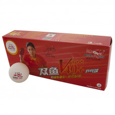 Мяч для наст. тенниса Double Fish 3***, арт.V111F1, диам. V40+мм, ITTF Appr,плаcтик,упак.10 шт,белый