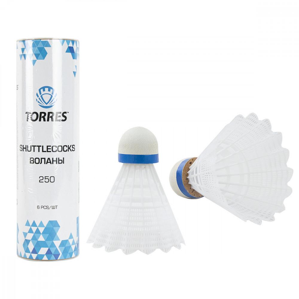 Воланы для бадминтона TORRES 250 (нейлон/пробка), арт. BD20109, уп.6шт.белый, сред.скор.