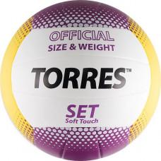 """Мяч вол. """"TORRES Set"""" арт.V30045, р.5, синт.кожа (ТПУ), клееный, бут.кам, бело-желто-фиолетовый"""