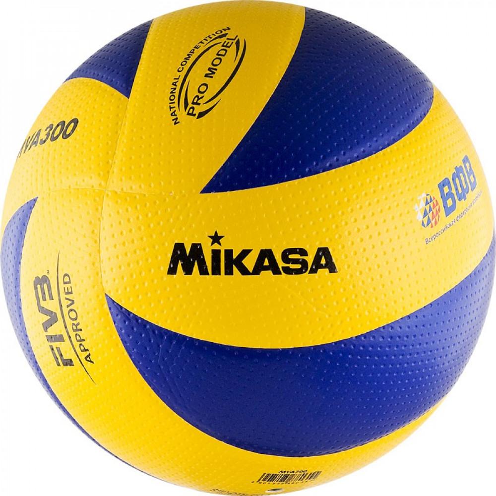 "Мяч вол. ""MIKASA MVA300"", р.5,  синт.кожа (микрофиб),FIVB Appr, 8 пан, клееный, бут.кам, сине-желт"