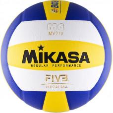 """Мяч вол. """"MIKASA MV210"""", р.5, синт.кожа (ПУ), клееный, бут.кам, бел-жел-син"""