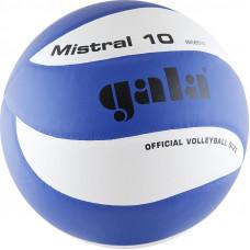 "Мяч вол. ""GALA Mistral 10"" арт. BV5661S, р. 5, синт. кожа ПУ, клееный, бут. камера, бело-синий"