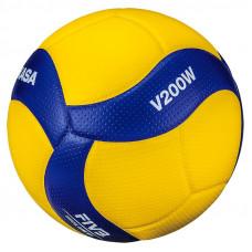 """Мяч вол. """"MIKASA V200W"""", р.5, оф.мяч FIVB, FIVB Appr, синт.кожа (микрофиб), 18пан, клееный, желт-син"""