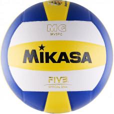 "Мяч вол. ""MIKASA MV5PC"", р.5, синт.кожа (ПВХ), клееный, бут.кам, бел-син-желт"