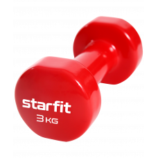 Гантель виниловая Core DB-101, 3 кг,  красный