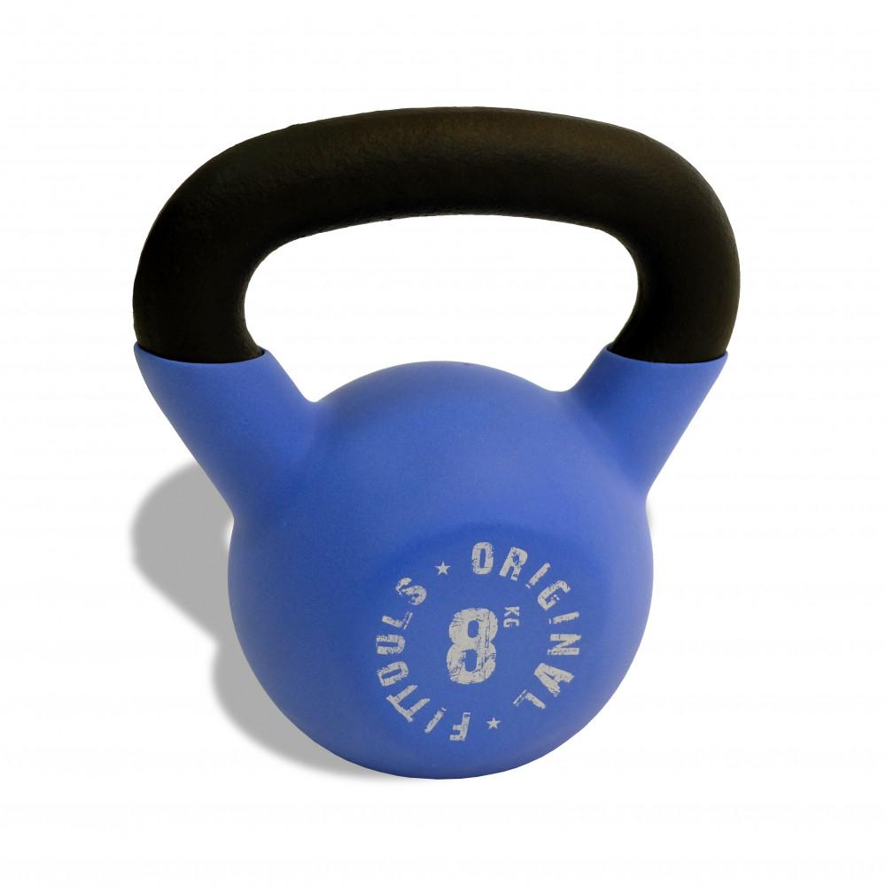 Гиря 8 кг обрезиненная синяя