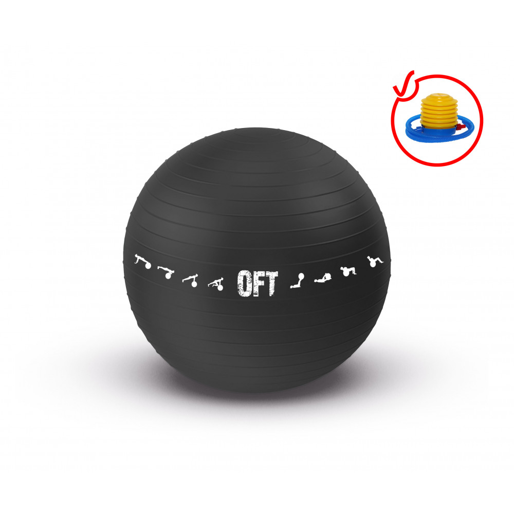 Гимнастический мяч 75 см для коммерческого использования черный с насосом