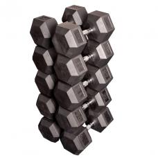 Набор гексагональных гантелей: 5 пар от 36 кг до 45 кг (шаг 2,25 кг)