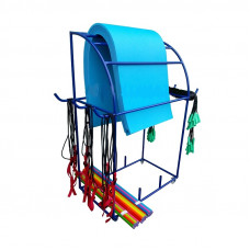 Стеллаж-тележка для хранения ковриков, скакалок, эспандеров и гимнастических палок на колесиках