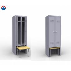 Шкаф металлический для одежды с выдвижной скамьей