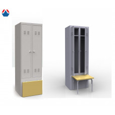 Шкаф металлический для одежды с откидной скамьей