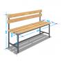 Скамейка для раздевалки жесткая со спинкой (L= 1500мм)