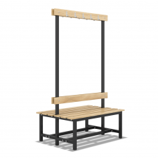Скамейка с вешалкой для раздевалки двухсторонняя разборная (1200mm)