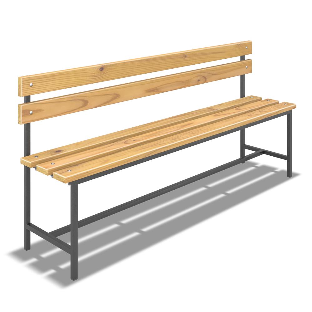 Скамейка для раздевалки жесткая со спинкой (L= 2000мм)